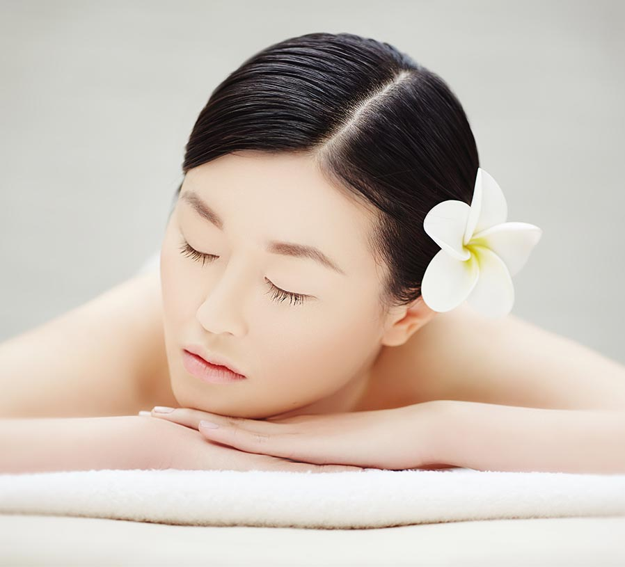 relaxed asian woman